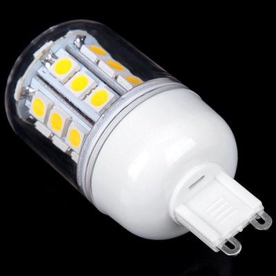 G9 3W 30 x 5050 SMD LED AC85 - 265V Warm White Corn Lamp with Transparent Lamp ShadeLED Light Bulbs<br>G9 3W 30 x 5050 SMD LED AC85 - 265V Warm White Corn Lamp with Transparent Lamp Shade<br><br>Base Type: G9<br>Type: Corn Bulbs<br>Output Power: 3W<br>Emitter Type: 5050 SMD LED<br>Total Emitters: 30<br>Voltage (V): AC85-265<br>Features: Dimmable, Energy Saving, Low Power Consumption, Long Life Expectancy<br>Function: Home Lighting, Commercial Lighting, Studio and Exhibition Lighting<br>Available Light Color: Warm White, Natural White<br>Sheathing Material: Plastic<br>Product Weight: 0.026 kg<br>Package Weight: 0.1 kg<br>Product Size (L x W x H): 3 x 3 x 7 cm<br>Package Size (L x W x H): 4 x 4 x 9 cm<br>Package Contents: 1 x Corn Light