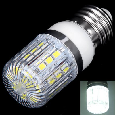 E27 3W 30 x 5050 SMD LED AC85 - 265V White Corn Lamp with Stripe Lamp Shade
