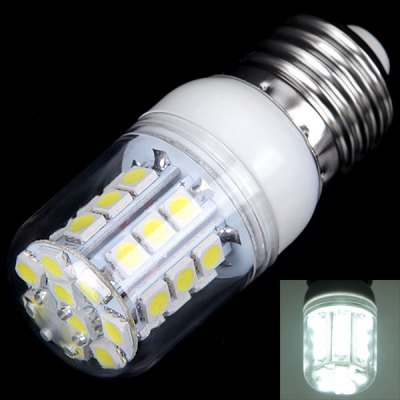 E27 3W 30 x 5050 SMD LED AC85 - 265V White Corn Lamp with Transparent Lamp Shade
