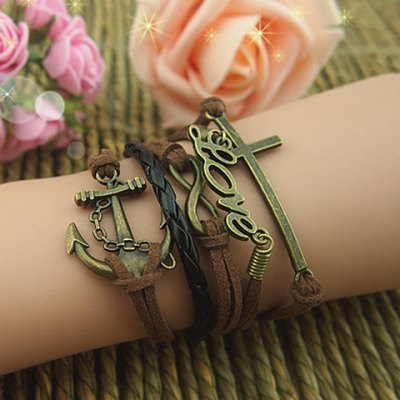 Vintage Cross and Letter and Anchor Embellished Multilayered Charm Bracelet For Women free shipping xc3020 70pg84m new original and goods in stock