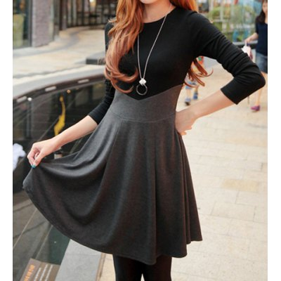 Ladylikle Round Collar Color Matching High Waist Long Sleeves Women's Dress