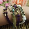 Fashion Scissors Embellished Colored Knitted Multilayered Charm Bracelet For Women