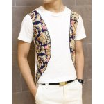 Buy Stylish Round Neck Chic Clipping Floral Splicing Short Sleeves Polyester T-shirt Men XL