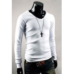 Buy Casual V-Neck Pullover Slim Fit Solid Color Long Sleeve Cotton Blend Men's Hoodie L