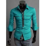 Buy Korean Style Shirt Collar Double Pockets Color Splicing Long Sleeves Slimming Polyester Men M BLUE