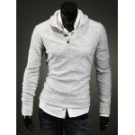 Buy Korean Style Turn-down Collar Buttons Embellished Solid Color Long Sleeves Cotton Blend Sweater Men M LIGHT GRAY