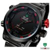 WEIDE WH2309B Male Military Sports Quartz Watch 3AMT Water Resistant Double Movts Analog Digital Hidden LED Alarm Wristwatch for sale
