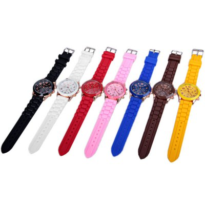 Гаджет   7PCS WoMaGe Quartz Watch with 6 Arabic Numbers and 6 Rectangle Hour Marks Rubber Watch Band for Women Women