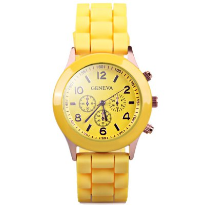 Гаджет   Geneva Quartz Watch with 6 Arabic Numbers 6 Rectangles Hour Marks and Rubber Watch Band Women
