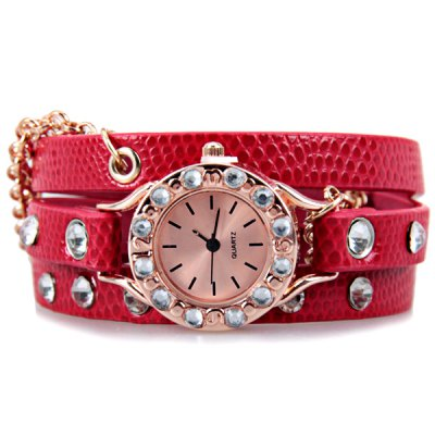 Diamonds Quartz Bracelet Watch with 12 Strips Indicate Round Dial and Chain Leather Watchband