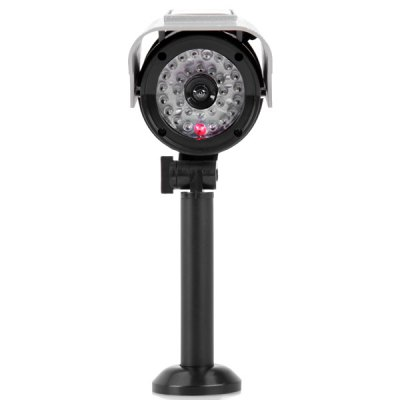 ФОТО Solar/Battery Powered Wireless Dummy CCTV Security CCD Camera with Red LED Blinking Light Weather Resistant for Indoor/Outdoor Surveillance