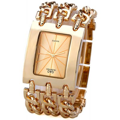 Quartz Watch for Men with Arch Dial Analog Indicate and Three Steel Chain Watchband