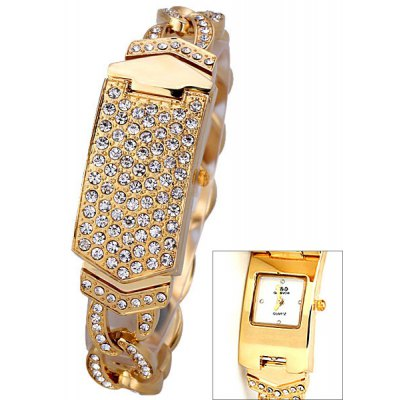 Quartz Watch for Women with Diamonds Arch Dial Analog Indicate and 1 Steel Chain Watchband