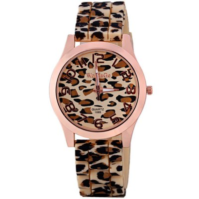 Stylish Women Watch Analog with Leopard Round Dial Silicone Watch Band