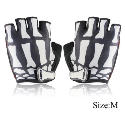 2PCS Cool Skull Design M Size Bicycle Bike Silicone Half Finger Gloves Cycling Gloves