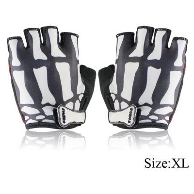 2PCS Cool Skull Design XL Size Bicycle Bike Silicone Half Finger Gloves Cycling Gloves