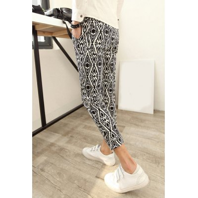 Night Club Style Slimming Argyle Print Polyester Nine Minutes Pants For Men