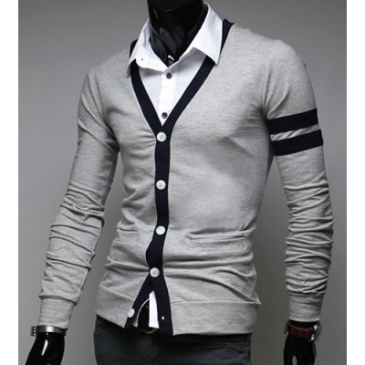 Korean Style V-Neck Color Block Stripes Purfled Design Long Sleeves Cotton Blend Cardigan For MenMens Sweaters &amp; Cardigans<br>Korean Style V-Neck Color Block Stripes Purfled Design Long Sleeves Cotton Blend Cardigan For Men<br><br>Type: Cardigans<br>Material: Cotton, Polyester<br>Sleeve Length: Full<br>Collar: V-Neck<br>Technics: Computer Knitted<br>Style: Casual<br>Weight: 0.35KG<br>Package Contents: 1 x Cardigan
