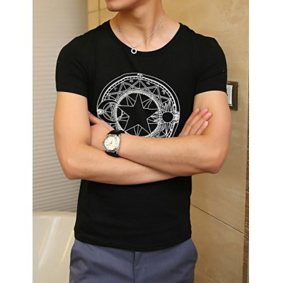 Casual Style Round Neck Diamonds Embellished Star Print Short Sleeves Cotton T-Shirt For Men