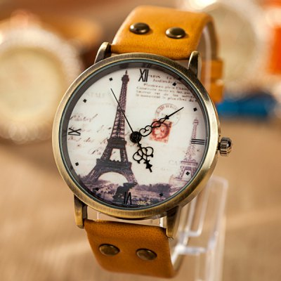Stylish Women Watch Analog with Tower Round Dial PU Leather Watch Band