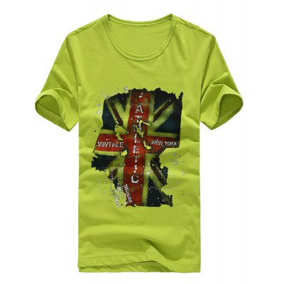 Korean Style Round Neck Personalized Flag Print Short Sleeves Cotton T-shirt For Men