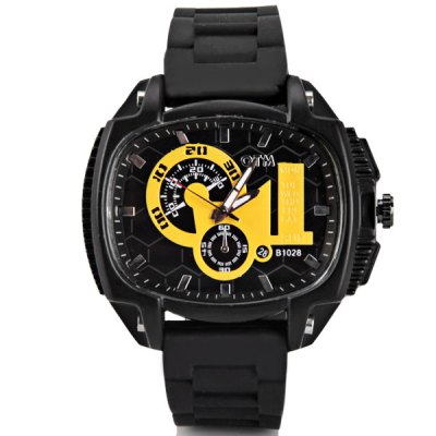 Unique Men Watch Analog with Elliptical Dial Rubber Watch Band