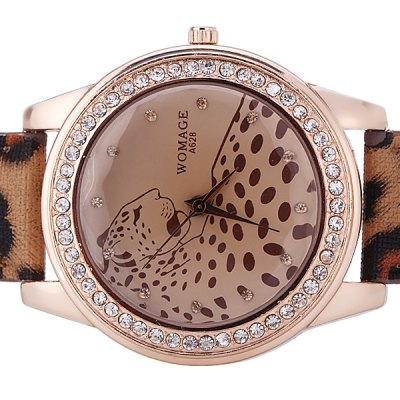 Stylish Women Watch Analog with Diamonds Leopard Round Dial Leather Watch BandWomens Watches<br>Stylish Women Watch Analog with Diamonds Leopard Round Dial Leather Watch Band<br><br>Watches categories: Female table<br>Movement type: Quartz watch<br>Shape of the dial: Round<br>Display type: Pointer<br>Case material: Stainless steel<br>Band material: PU leather<br>Clasp type: Pin buckle<br>Waterproof: Life waterproof<br>The dial thickness: 0.8 cm<br>The dial diameter: 4.3 cm<br>Product weight: 0.043 kg<br>Package weight: 0.093 kg<br>Product size (L x W x H) : 24.3 x 4.3 x 0.8 cm<br>Package size (L x W x H): 25.3 x 5.3 x 1.8 cm<br>Package contents: 1 x Watch