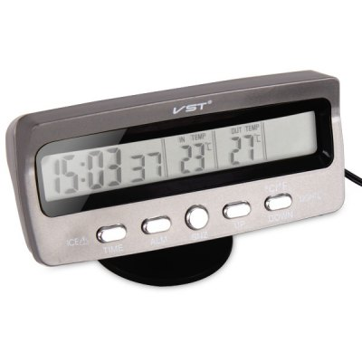 Auto Car Digital Thermometer Time and IN/OUT Temperature Display with Water - proof Sensor
