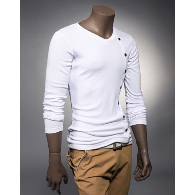 Гаджет   Fashion Style V-Neck Buttons Embellished  Long Sleeves Cotton Men