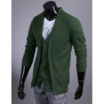 Fashion Style V-Neck Faux Twinset Long Sleeves Cotton Cardigan For Men