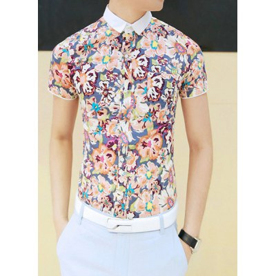 Fashion Style Turn-down Collar Floral Print Short Sleeves Polyester Shirt For Men