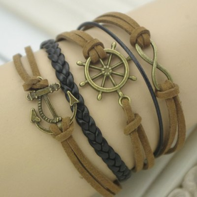 Vintage Helm and Anchor and 8 Embellished Wrap Bracelet For Men and Women