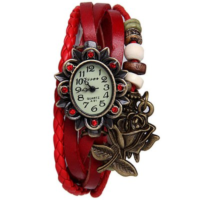 Гаджет   Unique Design Watch with Pendant and Knitting Leather Band for Women Women