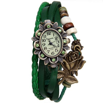 Гаджет   Unique Design Watch with Pendant and Knitting Leather Band for Women