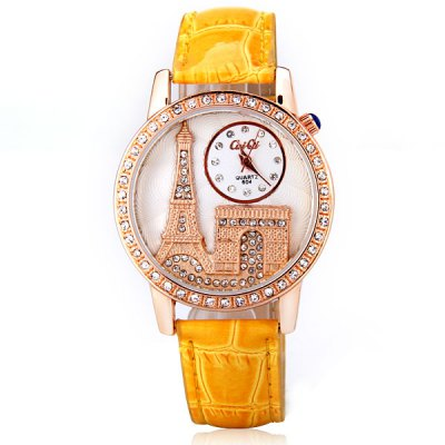 Stylish Women Watch Analog with Tower Diamonds Round Dial PU Leather Watch BandWomens Watches<br>Stylish Women Watch Analog with Tower Diamonds Round Dial PU Leather Watch Band<br><br>Watches categories: Female table<br>Movement type: Quartz watch<br>Shape of the dial: Round<br>Display type: Pointer<br>Case material: Stainless steel<br>Band material: PU leather<br>Clasp type: Pin buckle<br>Waterproof: Life waterproof<br>The dial thickness: 0.7 cm<br>The dial diameter: 3.8 cm<br>Product weight: 40 g<br>Package weight: 0.09 kg<br>Product size (L x W x H) : 24.5 x 3.8 x 0.7 cm<br>Package size (L x W x H): 25.5 x 4.8 x 1.7 cm<br>Package contents: 1 x Watch