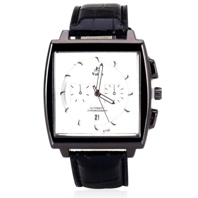 Гаджет   Unique Men Watch Analog with Date Square Dial Leather Watch Band Men