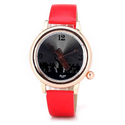 Гаджет   Stylish Men Watch Analog with Playing Music Round Dial PU Leather Watch Band Men