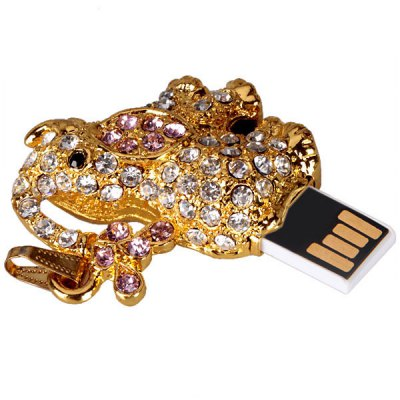 4GB Small Elephant Style Crystal Retractable USB Flash Disk