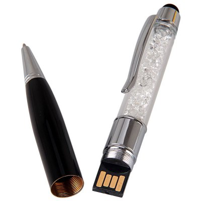 Гаджет   32GB Ballpoint Pen Style USB Flash Disk with Ballpoint Pen and Crystal USB Flash Drives
