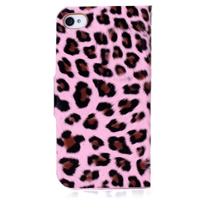 Фотография Stylish Leopard Design PU + PC Protective Stand Case with Card Holder for iPhone 4 / 4S
