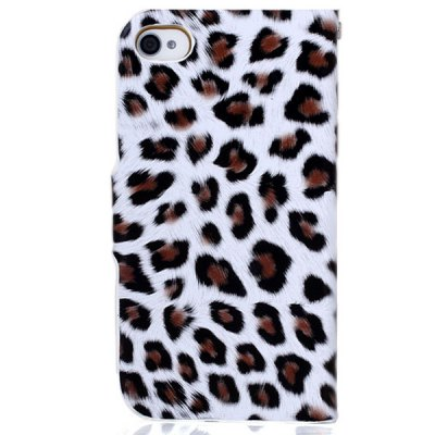 Гаджет   Stylish Leopard Design PU + PC Protective Stand Case with Card Holder for iPhone 4 / 4S iPhone Cases/Covers