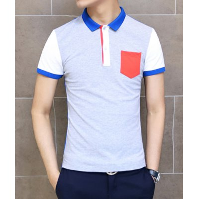 Casual Style Turn-down Collar Color Block Applique Pocket Short Sleeves Polyester Polo Shirt For Men