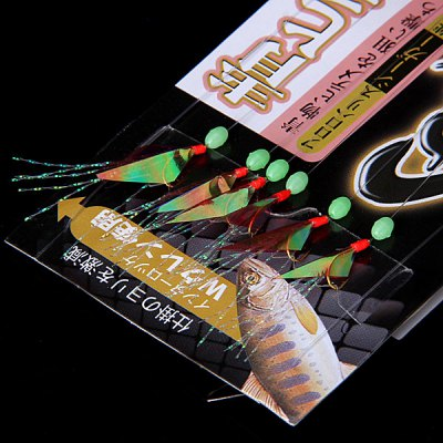 No.6 Fish Skin String Hook Sabiki Rig Fishhook with Luminous Beads