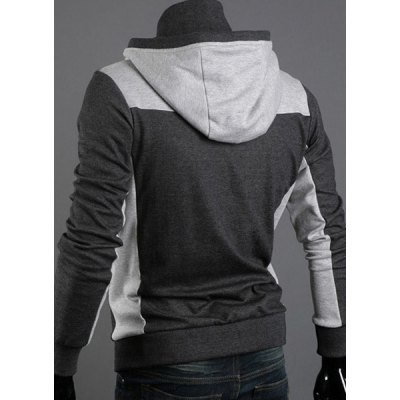 ФОТО Casual Style Slimming Color Block Zipper Embellished Long Sleeves Polyester Hoodies For Men