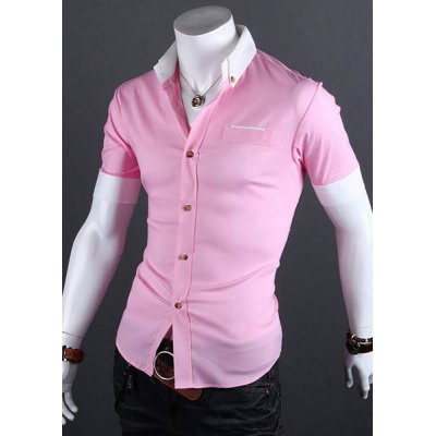 Casual Style Shirt Collar Color Block Cuffs Short Sleeves Polyester Shirt For MenMens Shirts<br>Casual Style Shirt Collar Color Block Cuffs Short Sleeves Polyester Shirt For Men<br><br>Shirts Type: Casual Shirts<br>Material: Cotton, Polyester<br>Sleeve Length: Short<br>Collar: Turn-down Collar<br>Weight: 0.212KG<br>Package Contents: 1 x Shirt
