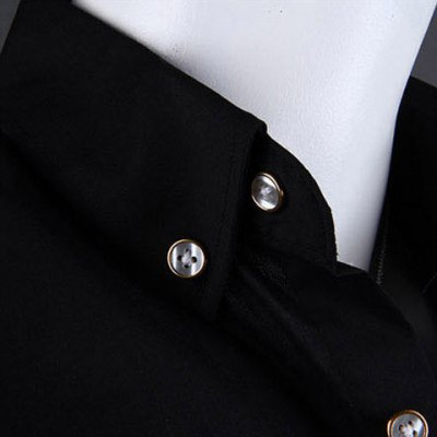 Casual Style Shirt Collar Metal Buttons Slimming Short Sleeves Polyester Shirt For Men