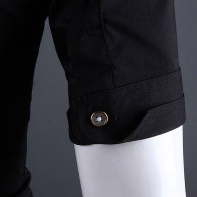 Фотография Casual Style Shirt Collar Metal Buttons Slimming Short Sleeves Polyester Shirt For Men
