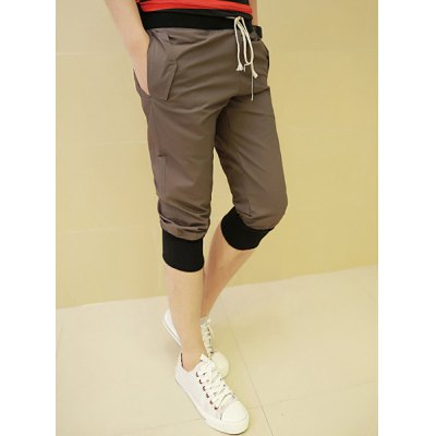 Casual Style Drawstring Design Color Block Rib Splicing Cotton Cropped Pants For Men