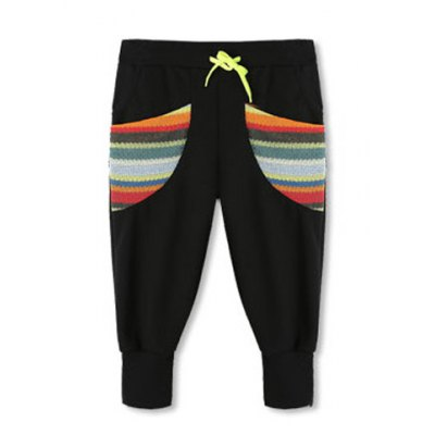 Casual Style Drawstring Design Colorful Pockets Polyester Cropped Pants For Men