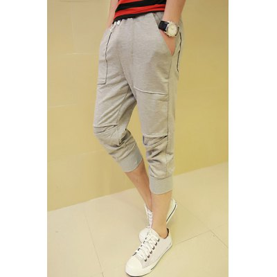 Гаджет   Casual Style Stereo Clipping Drawstring Polyester Gray Cropped Harem Pants For Men Pants